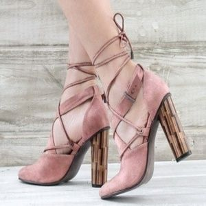 *New Arrival* Blush Lace Up Heel